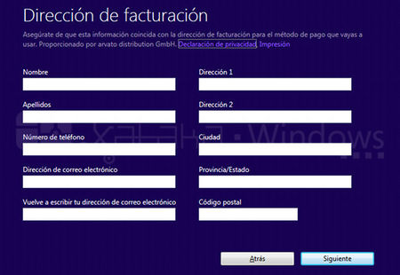 Actualización a Windows 8 Pro, formulario facturación