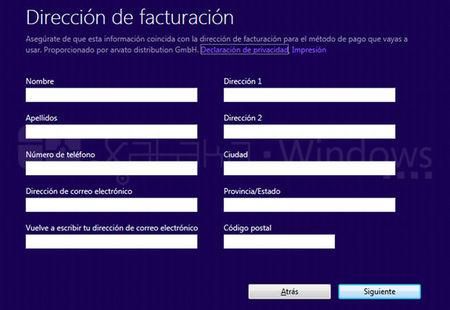Actualización a Windows 8 Pro, formulario facturación