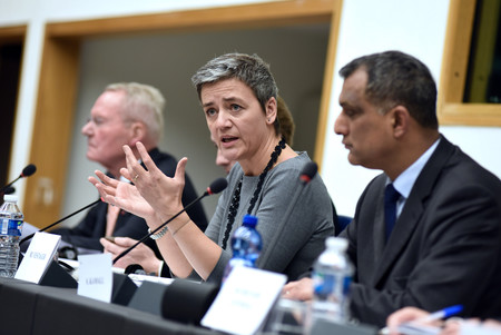 Vestager durante la Comisión de conservadores y reformistas europeos. Imagen: European Conservatives and Reformists Group.