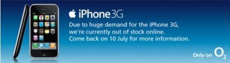 O2 tiene problemas de stock de iPhone 3G en Reino Unido