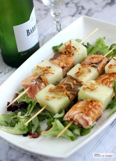 Brochetas De Melon Con Salmon