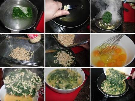 Preparación de tortilla de espinacas y judías blancas