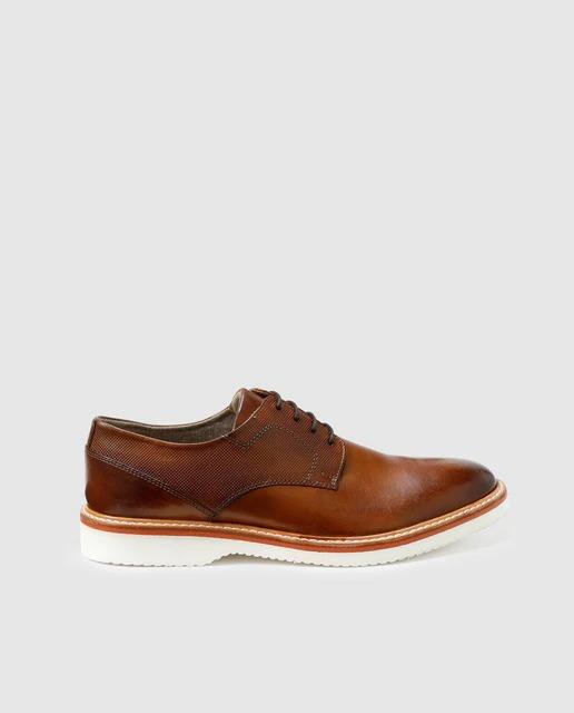 Zapatos de cordones de hombre Dustin de piel en color marrón claro