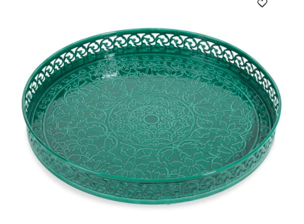 Bandeja de metal en color verde con dibujos ornamentales
