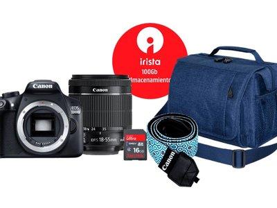 En Mediamarkt tienes un pack con la EOS 1300D de Canon para empezar con todo lo necesario en fotografía por sólo 369 euros