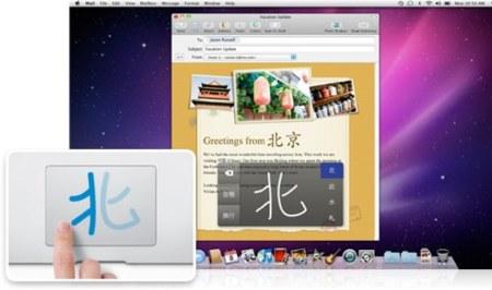 introducción de ideogramas chinos en el trackpad en Snow Leopard