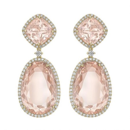 Morganite Classic Double Drop Earrings