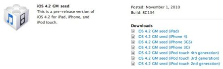 Apple envía a los desarrolladores la Golden Master de iOS 4.2, Xcode 3.2.5 y Mac OS X 10.6.5