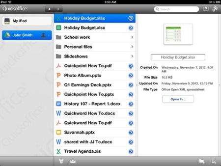 Google lanza una versión gratuita de QuickOffice para el iPad, aunque restringida para usuarios de Google Apps