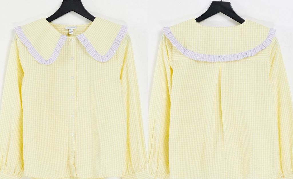 Camisa a cuadros vichy de corte holgado con cuello extragrande de Neon Rose