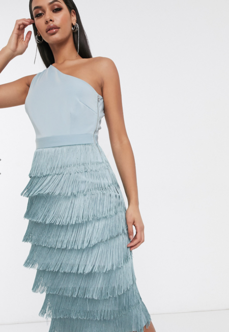 Vestido De Tubo Asimetrico 2 En 1 Con Detalle De Flecos En La Falda En Azul De Lavish Alice