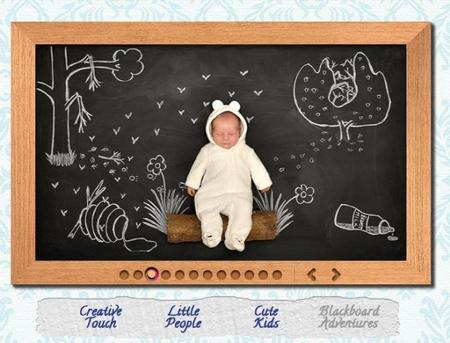 Fotografía infantil original: las aventuras del bebé sobre una pizarra