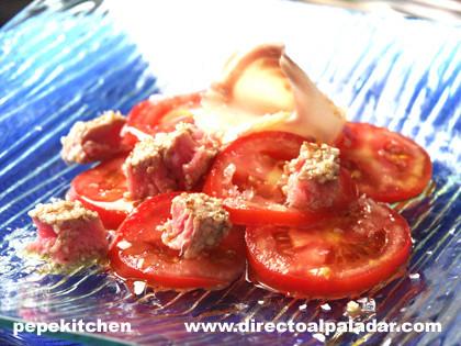 Receta de ensalada de ahumados y tataki de atún