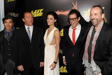 Kim Jee-woon, Arnold Schwarzenegger, Jaimie Alexander, Johnny Knoxville y Peter Stormare en el preestreno de El Último Desafío
