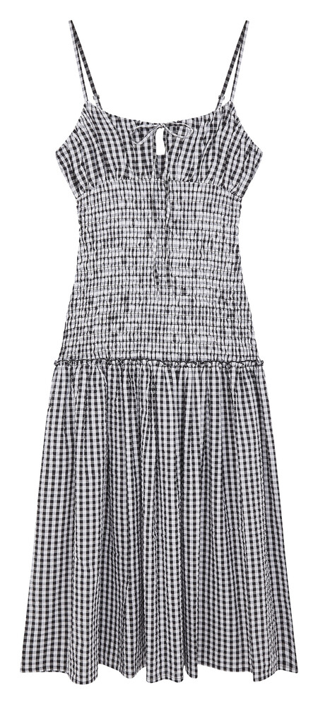 Asos Design Ruched Bust Cami Midi Sundress With Shirred Waist In Cotton Poplinin Gingham Gbp35