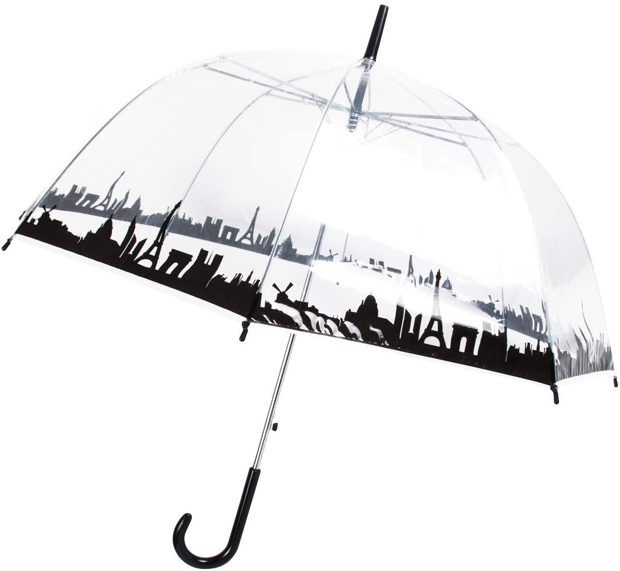 Lancoon Paraguas transparente grande para novia o esposa con forma de cúpula B