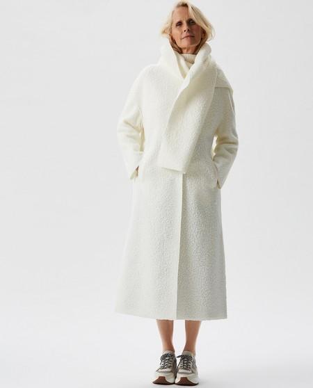Abrigo de paño de mujer largo con bufanda envolvente