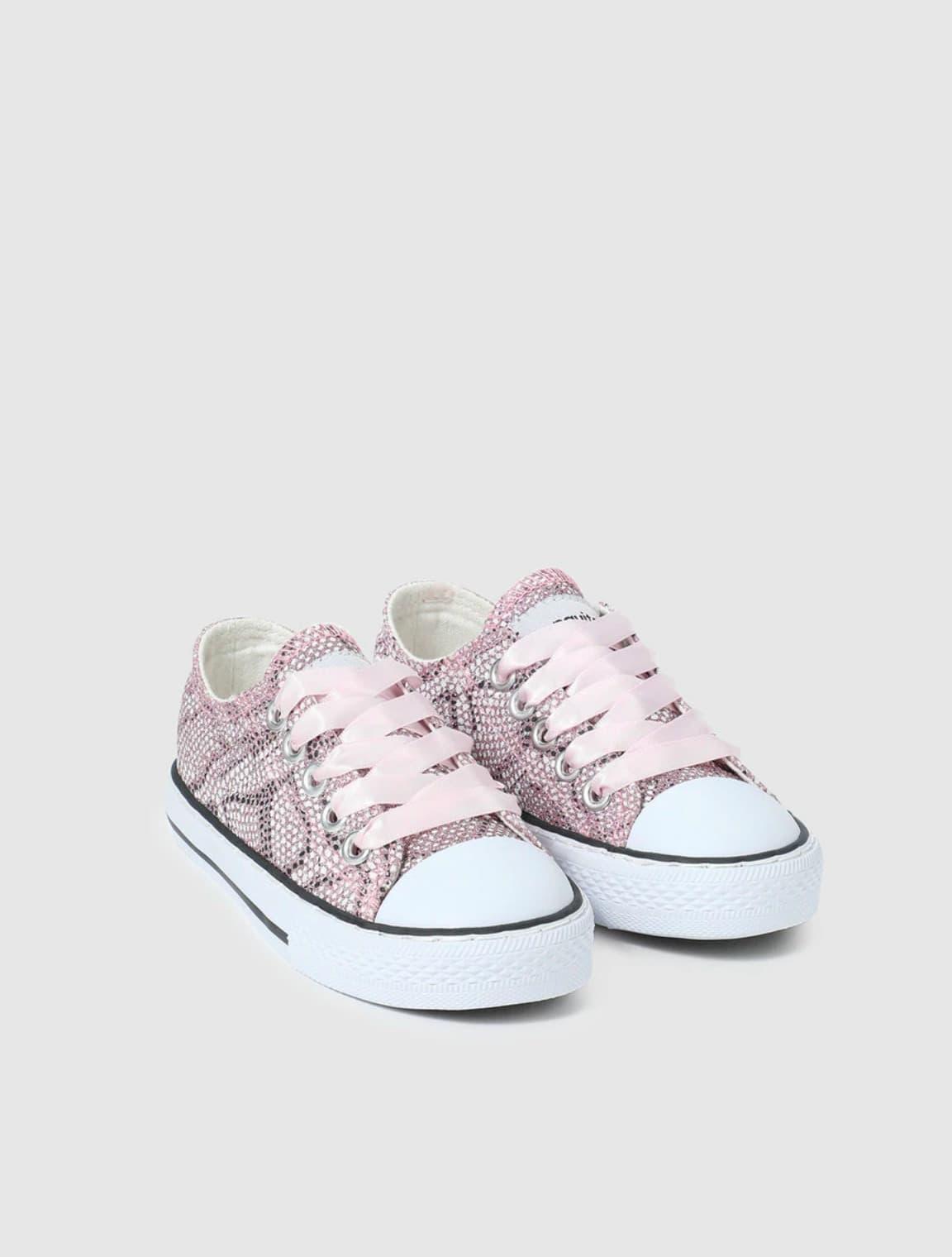 Zapatillas de lona de niña Conguitos en color rosa con estampado animal