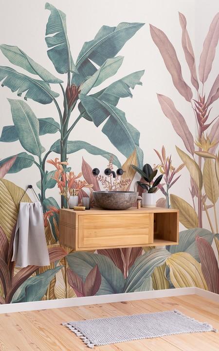 Papel Pintado Vintage Con Plantas Tropicales Rosa Polvo Y Verde Petroleo