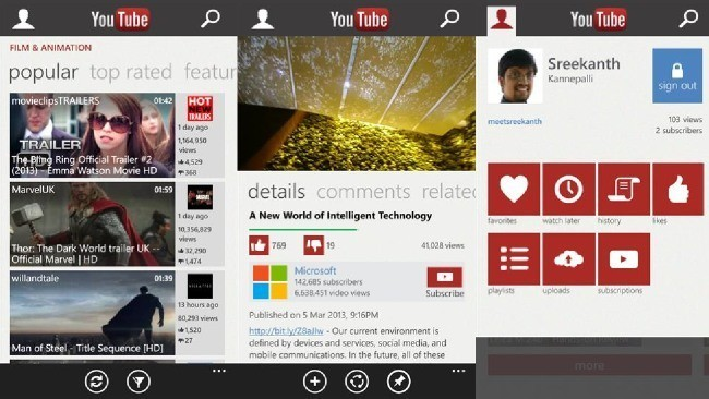 YouTube en Windows Phone