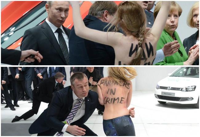 Vladimir Putin, Angela Merkel y las activistas en