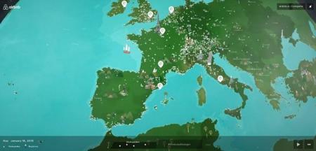 El mapa interactivo con la actividad de Airbnb alrededor del mundo. La imagen de la semana.