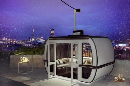 Una terraza de hotel en Londres con aires de estación de esquí