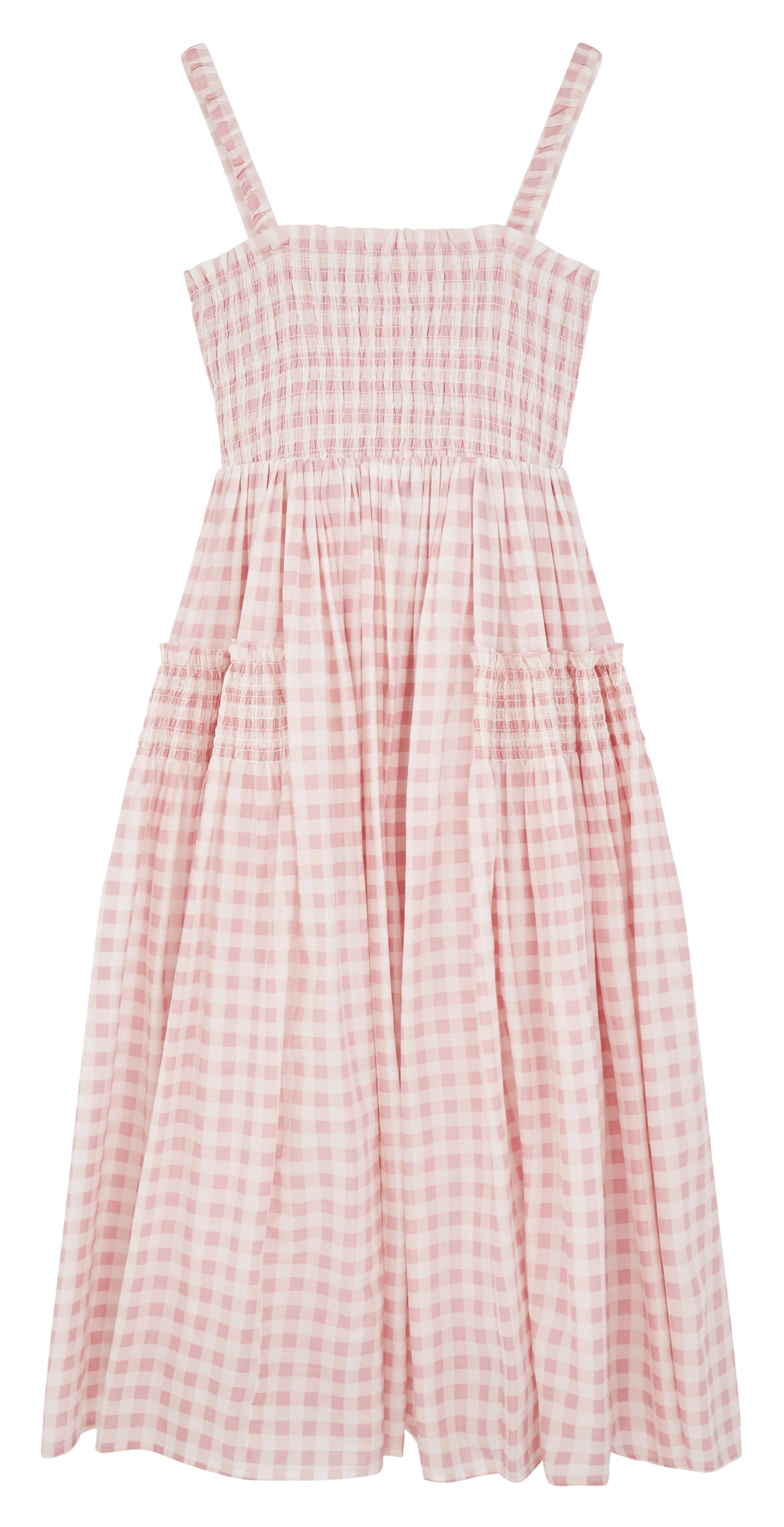 Vestido midi de verano a cuadros vichy rosas y blancos de tirantes con bordes sin rematar