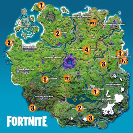 Mapa Desafios Legendarios Semana 14 Fortnite