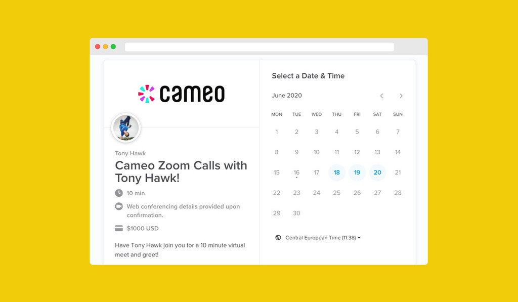 15.000 dólares por una videollamada en Zoom con una persona famosa: Cameo te permite hablar con Tony Hawk o Jeremy Piven