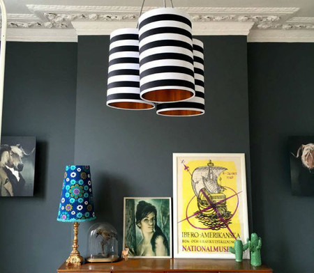 Original Metallic Lined Cluster Chandelier In Circus Stripes 600x600