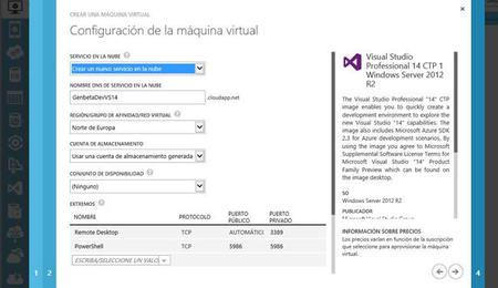 VM Azure Visual Studio 14