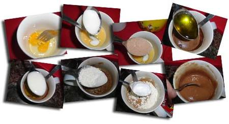 Preparación del bizcocho a la taza