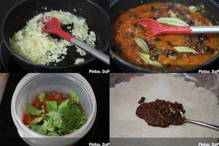 Salsa de tomate y aceitunas negras. Pasos