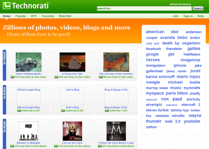 Technorati cambia y presenta Search