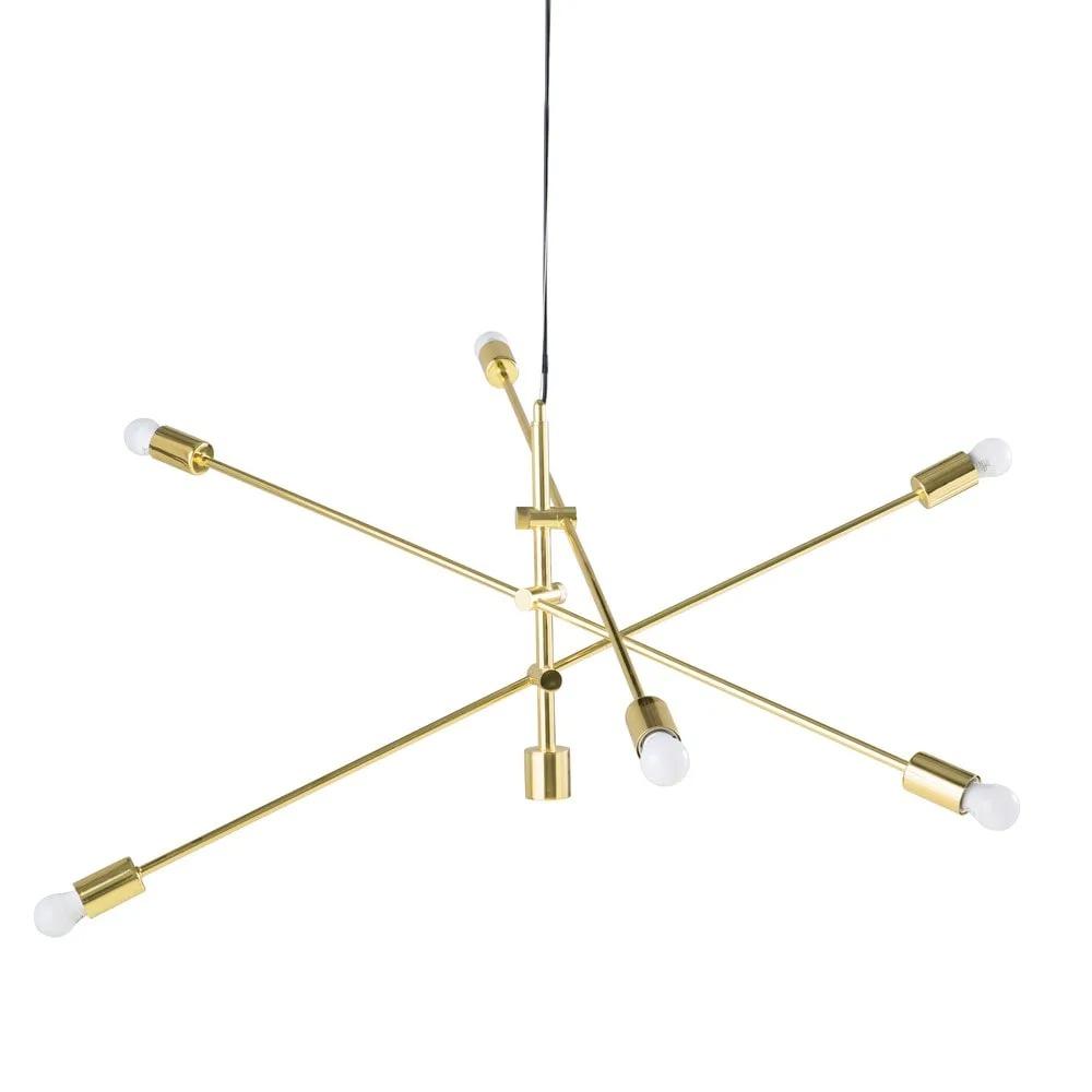 TESSE.- Lámpara de techo con 3 brazos orientables de metal dorado