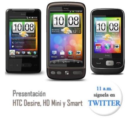 Presentación HTC Desire, HD Mini y Smart. Síguela en nuestro Twitter