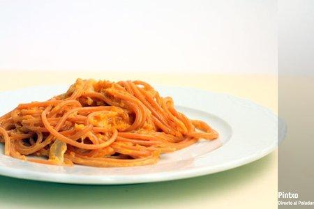 Espaguetis con salsa de calabaza. Receta