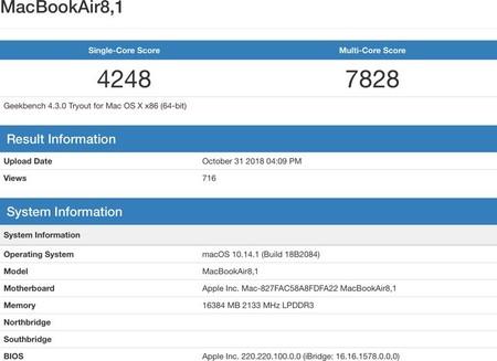 Benchmark Macbook Air 2018