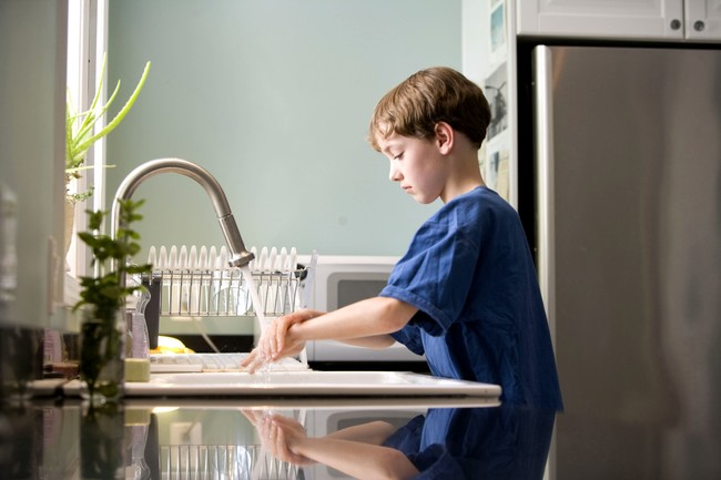 Caucasian Boy Washing Hands