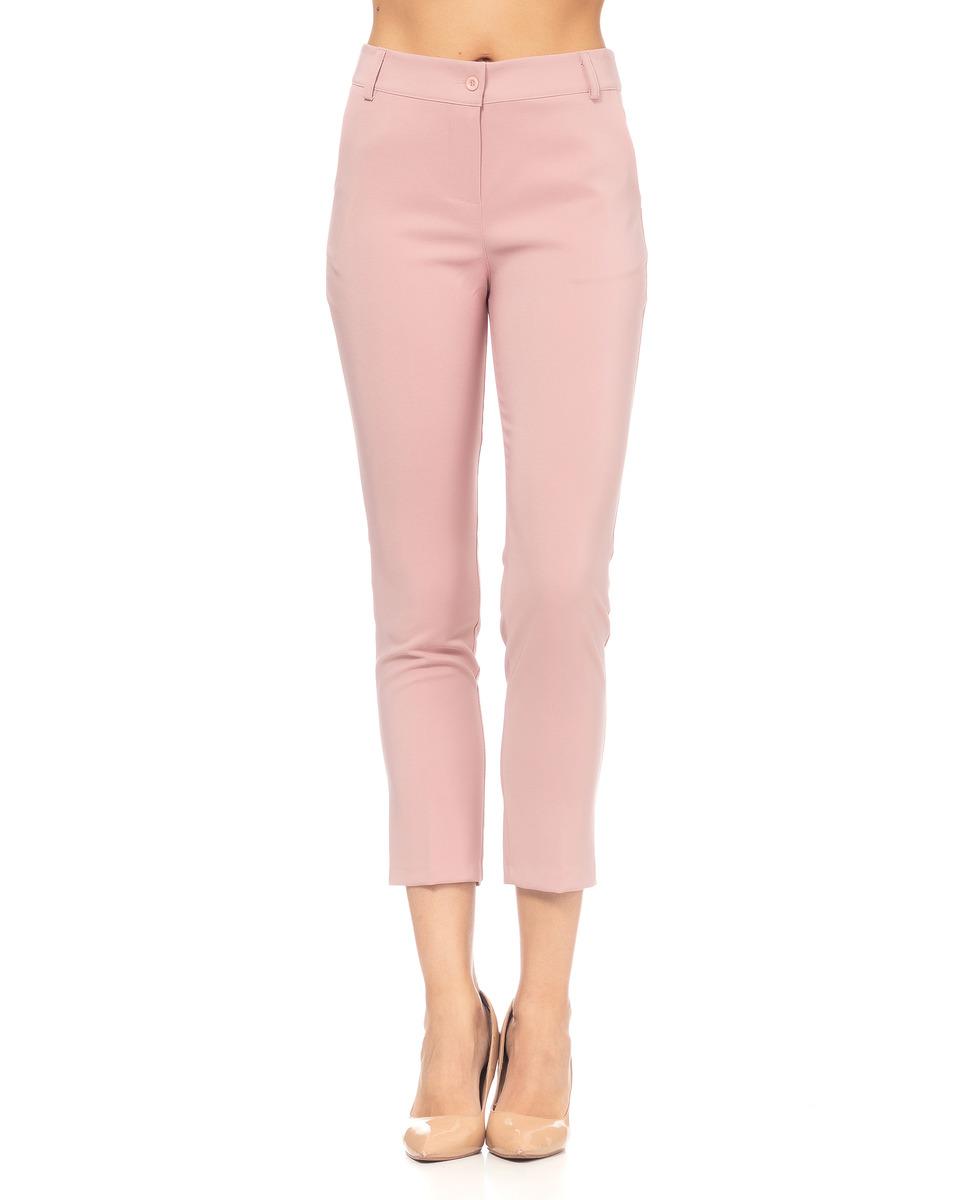 Pantalón recto de mujer con cinturilla y bolsilos