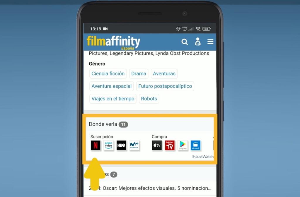 FilmAffinity indicará si podemos ver una película en Netflix, HBO, Prime Video y otras plataformas