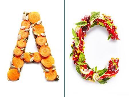 Interesantes letras hechas con los alimentos que contienen esa vitamina o mineral