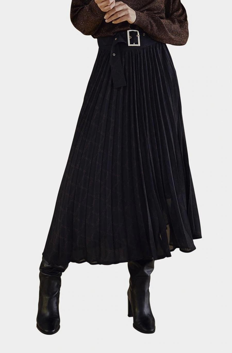 Falda larga plisada con estampado monogram