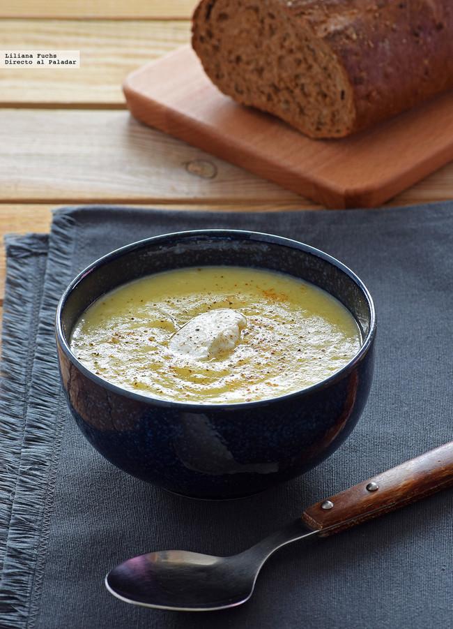 Crema de puerros, patata y pera al azafr�n