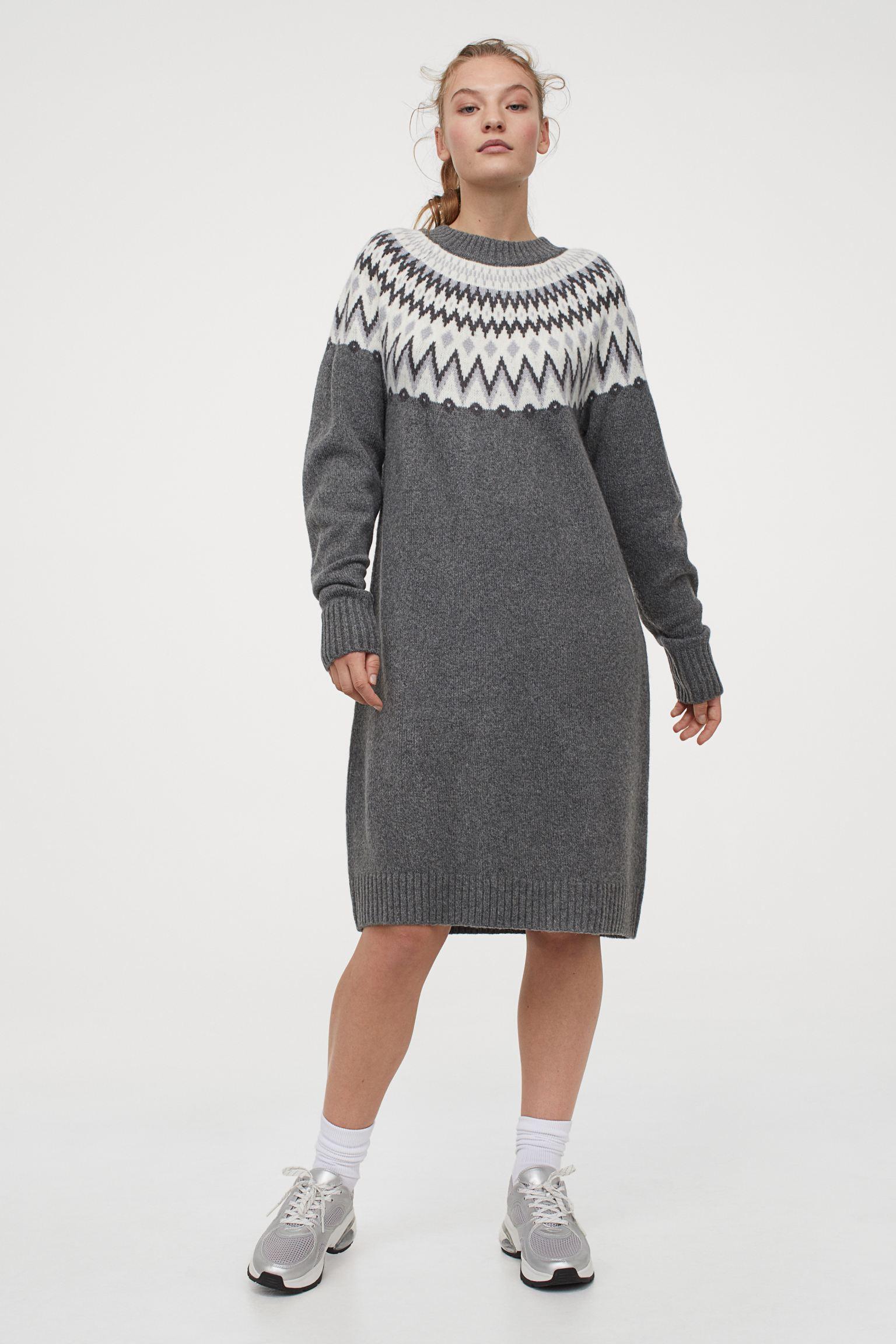 Vestidos gris jacquard