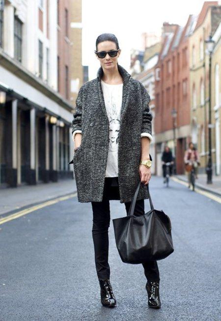 Jaspeado abrigo Moda en la calle