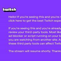Twitch ya tiene su pantallazo morado de la muerte: lo muestra durante los directos cuando detecta un 'adblock'