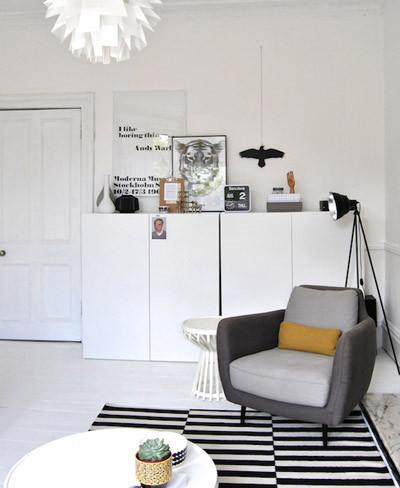 Zona de lectura en blanco y negro