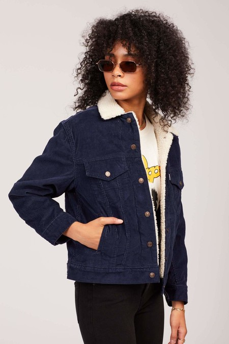 Levi S Cord Ex Boyfriend Sherpa Trucker Jacket Navy 20191007214027